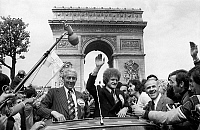 0159606 © Granger - Historical Picture ArchiveROGER ROCHER AND ROBERT HERBIN.   Roger Rocher (president of football team As St Etienne) and Robert Herbin on the Champs Elysees after the champion's league final (lost) at Glasgow, may 13, 1976. Full credit: AGIP - Rue des Archives / Granger, NYC -- All Rights Reserved.
