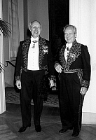 0159854 © Granger - Historical Picture ArchiveROSTROPOVITCH AND LANDOWSKI.   Mstislav Rostropovitch and Marcel Landowski wearing the suit of the French Academy of Fine Arts october 26, 1988. Full credit: AGIP - Rue des Archives / Granger, NYC -- All rights reserved.