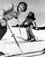 0159915 © Granger - Historical Picture ArchiveSACHA DISTEL.   singer Sacha Distel and his wife Francine on winter sports in Megeve february 12, 1973. Full credit: AGIP - Rue des Archives / Granger, NYC -- All rights reserved.