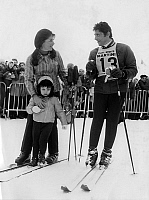 0159922 © Granger - Historical Picture ArchiveSACHA DISTEL.   Sacha Distel winner of ski event of the 5th international artists competition in Megeve with his wife Francine and his son Laurent on january 13, 1969. Full credit: AGIP - Rue des Archives / Granger, NYC -- All rights reserv