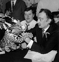 0160124 © Granger - Historical Picture ArchiveSALVADOR DALI AND SON OCELOT.   Salvador Dali with his ocelot and journalist Jean Pierre Farkas during radioprogram on RTL may 6, 1967. Full credit: AGIP - Rue des Archives / Granger, NYC -- All Rights Reserved.