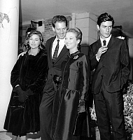 0160165 © Granger - Historical Picture ArchiveSAMI FREY.   actors Michele Girardon, Jean Pierre Aumont, Marina Vlady and Samy Frey at the time of film Pride by RogerVadim october 24, 1961. Full credit: AGIP - Rue des Archives / Granger, NYC -- All rights reserved.
