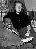 0160360 © Granger - Historical Picture ArchiveSERETSE KHAMA.   Seretse Kama founding President of Botswana in 1966-1980 here with his wife Ruth Williams in september 1966. Full credit: AGIP - Rue des Archives / Granger, NYC -- All Rights Reserved.