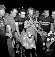 0160693 © Granger - Historical Picture ArchiveSIX JOURS OF PARIS.   Lapebie Brumel and Lily Fayol during the Six Days cycling race in Paris march 22, 1950. Full credit: AGIP - Rue des Archives / Granger, NYC -- All rights rese
