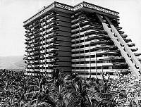 0161246 © Granger - Historical Picture ArchiveTHE FAIRMONT ACAPULCO PRINCESS HOTEL.   The Fairmont Acapulco Princess Hotel in Acapulco, Mexico, built in 1971 by William Rudolph et Leonides Guadarrama (aztc pyramid). Full credit: AGIP - Rue des Archives / Granger, NYC -- All rights rese
