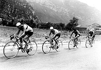 0161459 © Granger - Historical Picture ArchiveTOUR OF FRANCE 1953.   cyclists Meunier, Forestier, Lorono and Langarica during France cycling race july 24, 1953. Full credit: AGIP - Rue des Archives / Granger, NYC -- All rights