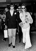 0161618 © Granger - Historical Picture ArchiveTWIGGY.   model Twiggy with fiancee and manager Justin de Villeneuve arriving at Athens airport august 23, 1968. Full credit: AGIP - Rue des Archives / Granger, NYC -- All rights r