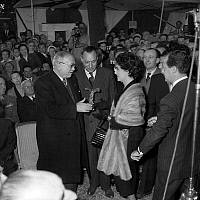 0162006 © Granger - Historical Picture ArchiveVINCENT AURIOL AND GINA LOLLOBRIGIDA.   On june 13, 1953, in Paris, french president Vincent Auriol (r) giving a Victoire du cinema (french movie prize) to Gina Lollobrigida, c : Jean Marie Louvel, french minister of industry. Full credit: AGIP - Rue des Archives / Granger, NYC -- All rights reserve