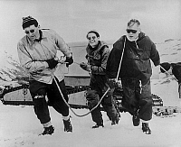0162072 © Granger - Historical Picture ArchiveVIVIAN FUCHS.   Vivian Fuchs (Vivian Fuchs (right) first man to cross the full width of South Pole (Antarctic) in 99 days) at the South Pole, january 22, 1958. Full credit: AGIP - Rue des Archives / Granger, NYC -- All rights reserved.