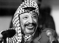 0162327 © Granger - Historical Picture ArchiveYASSER ARAFAT, IN 1989.   Yasser Arafat leader of PLO Palestine Liberation Organization giving press conference in Helsinki during official visit in Finland january 17, 1989. Full credit: AGIP - Rue des Archives / Granger, NYC -- All rights
