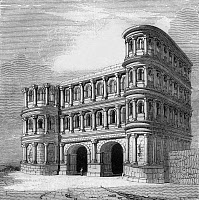 0165661 © Granger - Historical Picture ArchiveTRIER: PORTA NIGRA.   The 2nd century A.D. Roman city gate at Trier, Rhineland-Palatinate, Germany. Wood engraving, 1835.
