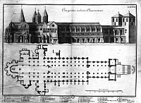 0166654 © Granger - Historical Picture ArchiveFRANCE: CLUNY ABBEY.   Plan and elevation of the Benedictine church and monastery of Cluny in Burgundy, France, built between 1088 and 1225. Line engraving, 18th century.