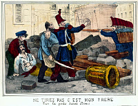 0166725 © Granger - Historical Picture ArchiveFRANCE: REVOLUTION, 1848.   'Do not shoot it's my brother.' An officer protecting his brother from the army during the riots in France, after the removal of the national workshops, June 1848, at Porte Saint Denis in Paris. Contemporary color engraving.
