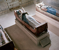 0166805 © Granger - Historical Picture ArchiveELEANOR OF AQUITAINE  (c1122-1204). Queen of Louis VII of France and of Henry II of England. Stone tomb figure from the Abbey Church, Fontevrault, France. At right is King Henry II.