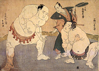 0167393 © Granger - Historical Picture ArchiveJAPAN: SUMO WRESTLERS, 1783.   Sumo wrestlers Onogawa and Tanikaze. Woodblock print by Katsukawa Shunsho, 1783.