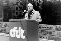 0168783 © Granger - Historical Picture ArchiveMICHEL FOUCAULT (1926-1984).   French philosopher and historian. Photographed at a demonstration of the French Democratic Confederation of Labor in support for Polish trade union Solidarnosc, 13 April 1981.