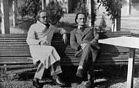 0173641 © Granger - Historical Picture ArchiveANTONIN ARTAUD (1896-1948).   French writer, here with his psychiatrist Gaston Ferdiere in Rodez. Photograph, c1942-1943. Full credit: Bourgeron - Rue des Archives / Granger, NYC -- All Rights Reserved.