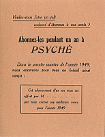 0173651 © Granger - Historical Picture ArchivePSYCHÉ MAGAZINE.   Subscription form for the psychology magazine 'Psyché', 1949. Full credit: Bourgeron - Rue des Archives / Granger, NYC -- All rights reserved.