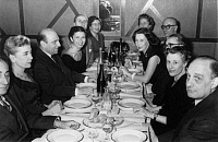 0173728 © Granger - Historical Picture ArchivePSYCHOANALYST DINNER, 1957.   On the left: Mrs Lebovici and Rene Held (background), Serge Lebovici (center); on the right: Jeannette Favreau (elbow on table), Pierre Male (background, glasses). Photograph, January 1957. Full credit: Bourgeron - Rue des Archives / Granger, NYC -- All rights reserved.