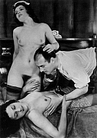 0173877 © Granger - Historical Picture ArchivePROSTITUTION.   A man with 2 prostitutes. Photograph, 1930s - 1940s. Full credit: Bourgeron - Rue des Archives / Granger, NYC -- All Rights Reserved.