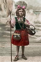 0173978 © Granger - Historical Picture ArchivePOSTCARD: FISHING.   A little girl with a fishing net and a basket full of fish. Postcard, c1907. Full credit: Bourgeron - Rue des Archives / Granger, NYC -- All rights reserved.