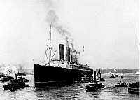 0176539 © Granger - Historical Picture ArchiveTITANIC: SOUTHAMPTON, 1912.   The RMS Titanic leaving the harbor of Southampton, England. Photograph, 10 April 1912. Full credit: PVDE - Rue des Archives / Granger, NYC -- All righ