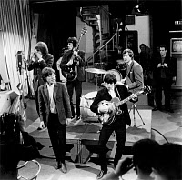 0186123 © Granger - Historical Picture ArchiveTHE ROLLING STONES, c1965.   The Rolling Stones performing on a television program. Photograph, c1965. Left to right: Brian Jones, Keith Richard, Mick Jagger, Bill Wyman and Charlie Watts. Full credit: FIA - Rue des Archives / Granger, NYC -- All Rights Reserved.