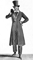 0216482 © Granger - Historical Picture ArchiveFASHION: MEN, c1822.   A fashionable man dressed in a wool coat, waistcoat, beaver hat, silk tie, duck trousers, and Russian beaver boots. Engraving, c1822.