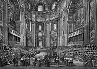 0259114 © Granger - Historical Picture ArchiveFIRST VATICAN COUNCIL, 1869.   The First Vatican Council in St. Peter's Basilica in Rome, 1869-1870. Contemporary engraving. Full credit: Collection Gregoire - Rue des Archives / Granger, NYC -- All Rights Reserved.