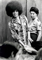 0260603 © Granger - Historical Picture ArchiveANGELA DAVIS (1944- ).   American political activist. Photographed during her trial on kidnapping, murder, and conspiracy charges at Santa Clara County Courthouse in San Jose, California, 1972.
