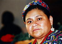0260821 © Granger - Historical Picture ArchiveRIGOBERTA MENCHÚ TUM   (1959- ). K'iche' Guatemalan civil rights activist and political figure. Photograph, c1992.