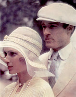 0265114 © Granger - Historical Picture ArchiveFILM: THE GREAT GATSBY.   Robert Redford as Jay Gatsby and Mia Farrow as Daisy Buchanan in the film 'The Great Gatsby,' directed by Jack Clayton, 1974. Full credit: Collection CSFF - Rue des Archives / Granger, NYC -- All rights reserved.