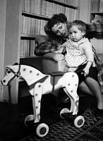 0265718 © Granger - Historical Picture ArchiveCAMUS FAMILY, 1946.   Francine Camus, wife of Albert, with their daughter Catherine. Photograph, 1946. Full credit: Rene Saint Paul - Rue des Archives / Granger, NYC -- All rights