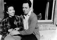 0265719 © Granger - Historical Picture ArchiveALBERT CAMUS (1913-1960).   French writer. Camus and his wife Francine Faure in Cabris, France. Photograph, 1950. Full credit: Tal - Rue des Archives / Granger, NYC -- All rights r