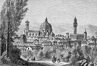 0267334 © Granger - Historical Picture ArchiveFLORENCE: CATHEDRAL.   A view of the Santa Maria del Fiore cathedral in Florence, Italy, from the Boboli Gardens. Wood engraving, c1850, after Felix Thorigny.