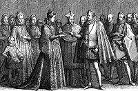 0267846 © Granger - Historical Picture ArchiveFRANCESCO I DE MEDICI   (1574-1587). Grand Duke of Tuscany, 1574-1587. The marriage of Francesco I de Medici to Joanna of Austria, 18 December 1565. After an engraving by Jacques Callot. Full credit: Edimedia/WHA - Rue des Archives / Granger, NYC -- All Rights Reserved.