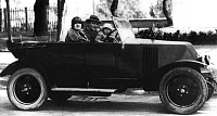 0268188 © Granger - Historical Picture ArchiveF. SCOTT FITZGERALD FAMILY.   F. Scott Fitzgerald with his wife Zelda and their daughter Scottie in a car in France. Photograph, c1927. Full credit: PVDE - Rue des Archives / Granger, NYC -- All Rights Reserved.