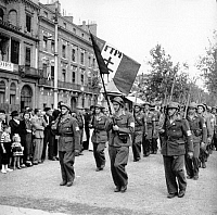 0268451 © Granger - Historical Picture ArchiveLIBERATION: TOULOUSE, 1944.   Parade of the Francs-Tireurs et Partisans in Toulouse, France, after the liberation of the city. Photograph, August 1944.  Full credit: Jean Dieuzaide - Rue des Archives / Granger, NYC -- All rights reserved.