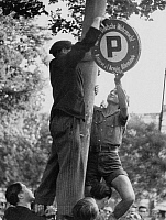 0268462 © Granger - Historical Picture ArchiveLIBERATION: TOULOUSE, 1944.   French citizens removing the German signs in Toulouse, France, on the day the city was liberated. Photograph, 19 August 1944. Full credit: Jean Dieuzaide - Rue des Archives / Granger, NYC -- All rights reserved