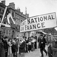 0268470 © Granger - Historical Picture ArchiveLIBERATION: TOULOUSE, 1944.   Celebrations organized by the National Front in Toulouse, France, following the liberation of the city. Photograph, 20 August 1944. Full credit: Jean Dieuzaide - Rue des Archives / Granger, NYC -- All rights re