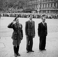 0268561 © Granger - Historical Picture ArchiveLIBERATION: TOULOUSE, 1944.   Resistance leader Serge Ravanel, Pierre Bertaux and the president of the Comite departementaux de la liberation in Toulouse, France, following the liberation of the city. Photograph, Full credit: Jean Dieuzaide - Rue des Archives / Granger, NYC -- All rights reserved.