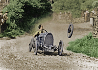 0072688 © Granger - Historical Picture ArchiveWALES: RAYMOND MAYS, 1924.   Raymond Mays, driving the Bugatti T13 Brescia, loses his rear wheel and brake drum. Accident at the Caerphilly Mountain Hill climb race in Cardiff, Wales. Photograph, 1924.