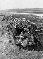 0072847 © Granger - Historical Picture ArchiveGERMAN TRENCH, 1914.   Christmas celebration in a trench at the East Front near Darkehmen, East Prussia. Photograph, 1914.