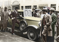 0072865 © Granger - Historical Picture ArchiveSTOCK MARKET CRASH, 1929.   An unlucky speculator, one Walter Thornton of New York, offering to sell his roadster after the stock market crash. Oil over a photograph, 30 October 1929.