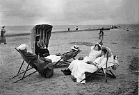 0072950 © Granger - Historical Picture ArchiveWOMEN AT BEACH, 1910.  Five women at the beach on the East Frisian Island of Norderney, Germany, 1910. Photographed by Otto Haekel. Full credit: Haeckel-Archiv - ullstein bild / Granger, NYC -- All rights reserved.