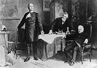 0073168 © Granger - Historical Picture ArchiveBISMARCK, FAVRE & THIERS.   Peace negotiations in Versailles: The Prussian prime minister Otto von Bismarck (left) with Jules Favre (center) and Adolphe Thiers (right), 1871. Based on a painting by Karl Wagner.