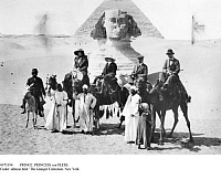 0073190 © Granger - Historical Picture ArchivePRINCE & PRINCESS von PLESS.   Prince and Princess von Pless, Duke and Duchess of Westminster and native escorts on a tour on camels in front of the Sphinx, 1912.