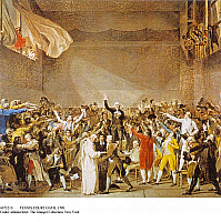 0073219 © Granger - Historical Picture ArchiveTENNIS COURT OATH, 1789.   Representatives of the Third Estate taking the Tennis Court Oath, Versailles, 06.20.1789. Detail of a painting by Jacques-Louis David. Full credit: Archiv Gerstenberg - ullstein bild / Granger, NYC -- All rights r