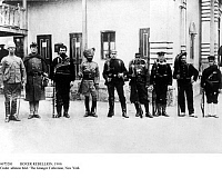 0073281 © Granger - Historical Picture ArchiveBOXER REBELLION, 1900.   Soldiers and marines of the international relief force after rescuing their besieged delegations at Tientsin (Tianjin) and before marching to Peking (Beijing). Left to right: British, American, Russian, Indian, German, French Foreign Legionnaire, Austrian, Italian, and Japanese.