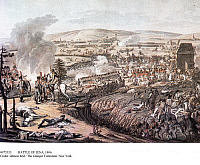 0073333 © Granger - Historical Picture ArchiveBATTLE OF JENA, 1806.   The Battle of Jena on 14 October 1806. Contemporary colored drawing by Johann Lorenz Rugendas II.